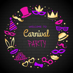Carnival Party - poster with gold icons. Vector.