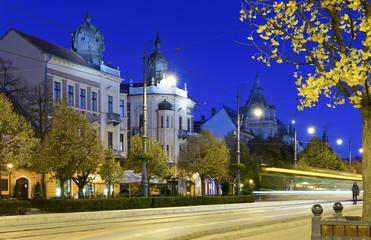 Twilight image with Debrecen streets