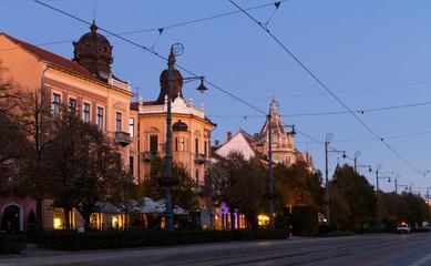Twilight view of Debrecen streets