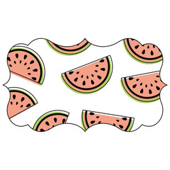 frame with watermelon pattern background