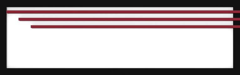 Header / Banner mit einfachen Formen in altrosa, weiß und schwarz. 3d render