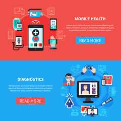 Digital Health Gadgets Flat Banners