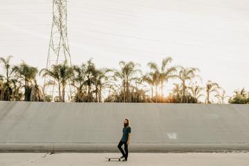 Man with skateboard