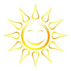 Sonne und Sonnenstrahlen als Vektor, Cartoon und smiley auf einem weißen isolierten Hintergrund