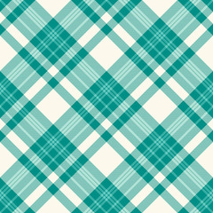 Plaid check pattern in teal green and ivory off-white. Seamless fabric texture for digital textile printing. Vector graphic.