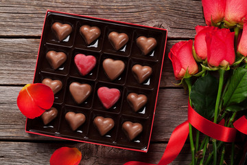 Valentines day greeting with chocolate box