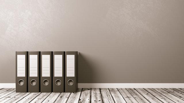 Binders on Wooden Floor, Archives Concept