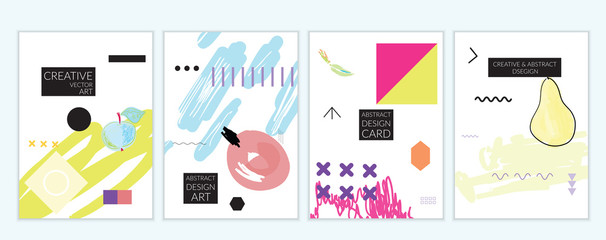 Set of artistic minimal universal card templates in Memphis style with abstract hand drawn doodles