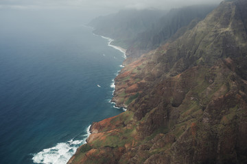 Na Pali Coast mountains and ocean in Kauai Hawaii