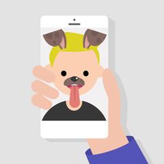 Funny mobile app. Dog muzzle filter. Millennials using smart phones. Flat editable vector illustration, clip art