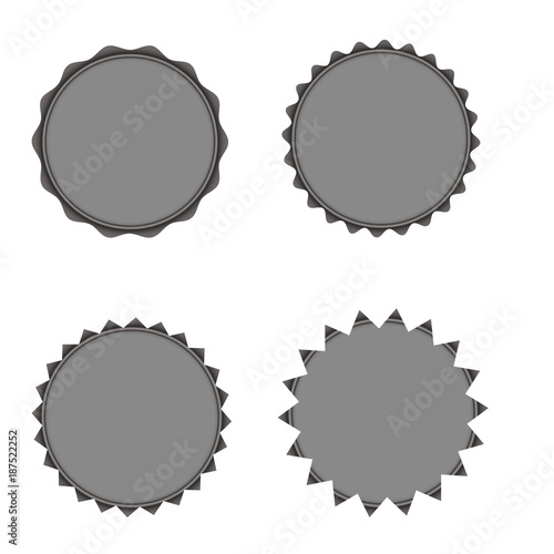 Set Of Vector Starburst Sunburst Badges Grey Color Vintage Labels Stickers