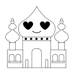 dotted shape taj mahal in love kawaii cartoon