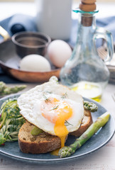 Fried duck egg with runny yolk.