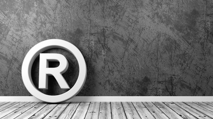 Trademark Symbol on Floor with Copy Space