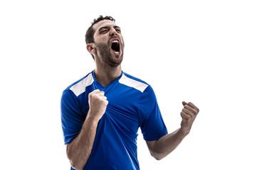 Soccer fan celebrating on white background
