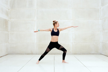 Woman training and stretching