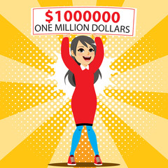 Young happy excited woman winner holding big one million dollar check lottery banner