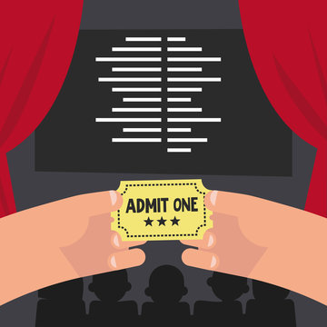 The end of the movie. Cinema conceptual illustration. Hands holding a yellow paper ticket. Editable vector, clip art