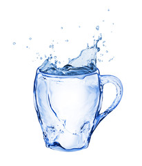 Cup made of water with splashes isolated on white background