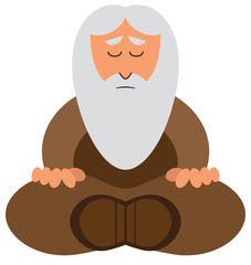 Cartoon Wise Man Meditating
