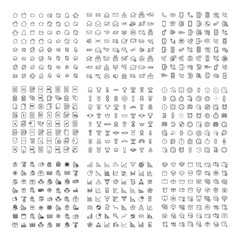 Big collection of 9 sets thin line icon.
