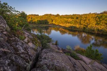 Rocky landscape near the Myhiia River. Ukraine.