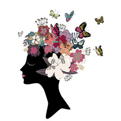 Woman's head black silhouette with butterflies and flowers in vintage colors in the hair. Vector illustration on white background