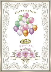 Wedding invitation with flowers and balloons