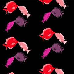 Pattern. Two pairs of lovers, lovely, beautiful, red, pink, purple fish stitched with white threads kiss on a black background on Valentine's Day.Vector illustration. Seamless.