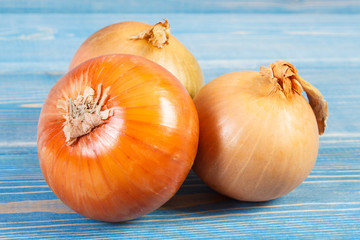 Fresh onions lying on blue boards, healthy nutrition concept
