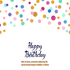 Colorful vector confetti background. Birthday greeting card design.