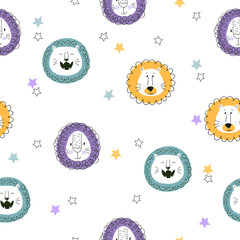 Seamless pattern with cute cartoon lions. Vector doodle illustration for kids. Baby print.