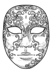 Venetian mask illustration, drawing, engraving, ink, line art, vector