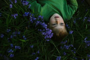 Lying in bluebells at dusk.