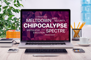 Chipocalypse concept with meltdown and spectre threat on laptop screen in office