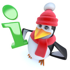 3d Funny cartoon winter penguin holding an information symbol