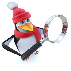 3d Funny cartoon winter penguin holding a magnifying glass