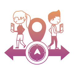 gps design with woman and man icon