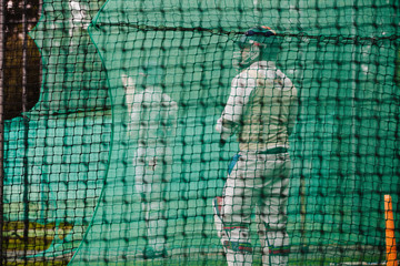 Batting practice during a cricket warm up