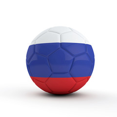 Russia flag soccer football against a plain white background. 3D Rendering