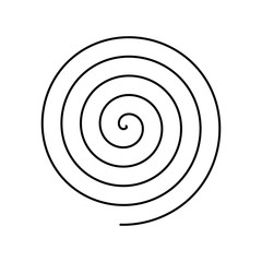 Thin black spiral symbol. Simple flat vector design element.