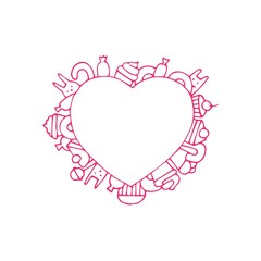 Heart doodle isolated art. Vector illustration for coloring book. Valentine day greeting card. Pink design. Hand draw.