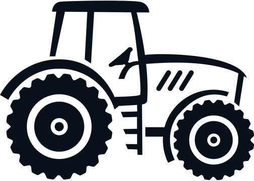 Farmer tractor drawn white