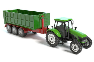 3d illustration of a Farming Tractor and Trailer