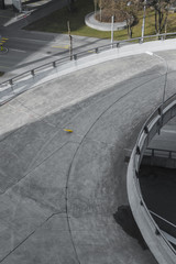 High angle view of curved road