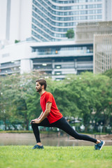 Man stretching after run