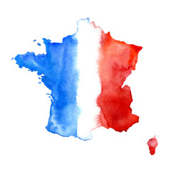 Map of France.Abstract flag.Watercolor hand drawn illustration.White background.
