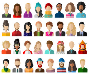 People avatar flat vector set isolated