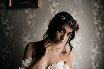 a portrait of a bride before her wedding