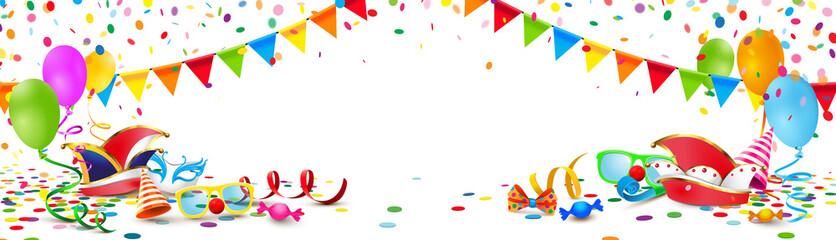 Kulisse mit Fasching Accessoires, Konfetti Regen, Luftballons, Narren Mütze, Maske und Luftschlangen